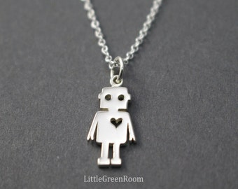 Super Cute Robot Necklace, Robot Girl Necklace, Sterling Robot, Robot Pendant, Halloween Necklace, Heart Necklace, Robot Girl, 925 Sterling