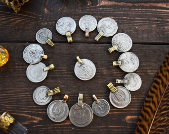 Vintage Kuchi Coins, Mixed Size Coin Charms, 10 Coins / Jewelry Making, Belly Dancing, Tribal Pendants, Nomadic, Gypsy, Boho Decor