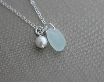 Genuine sea glass necklace with Swarovski crystal pearl and Sterling silver chain - Beach Glass necklace, Simple summer jewelry  Gift idea