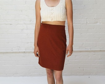 the earth-bound skirt  -- vintage rust wool high waisted pencil skirt size S