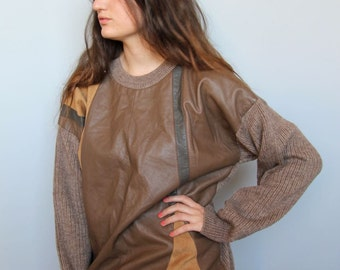 of the earth -- vintage 80s oversized geometric leather front sweater S/M/L
