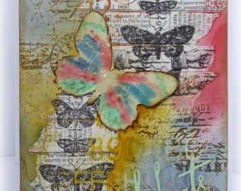 Butterfly dreams - gorgeous vintage/shabby chic style handmade mixed media greetings card