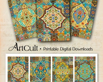 Printable digital images ARABESQUE gift tags, jewelry holders, scrapbooking decoupage paper moroccan ornaments downloadable greeting cards