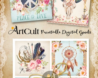 Printable coasters BOHO STYLE DESIGNS 3.8x3.8 inch size downloadable images for craft and decoration, digital collage sheet ArtCult graphics