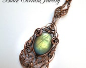 Labradorite and Copper Pendant - Yellow Green - Mysterious Light
