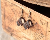 Dark Brown Journal Earrings, Mini Book Jewelry