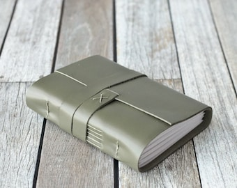 Green Leather Journal, Travel Diary, Sketchbook