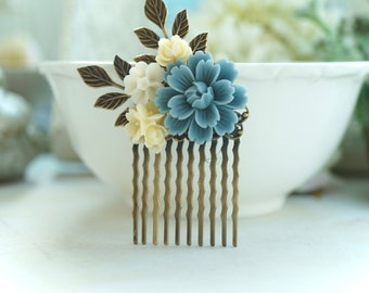 Dusty Blue Comb, Blue Ivory Floral Hair Comb, Blue Flower Hair Accessories, Bridesmaid Gift, Something Blue Wedding Dusty Blue Hair Piece
