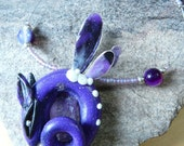 Amethyst Bliss Whirr Fairy Dragon necklace with raw Amethyst point