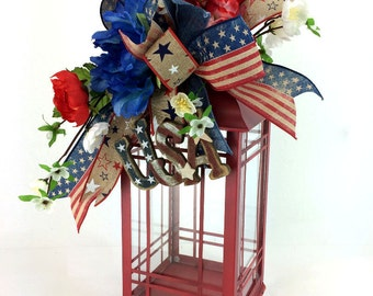 Rustic Fourth of July Lantern Swag, Red White and Blue Decor, Patriotic Lantern Swag, USA Lantern Swag, Lantern Centerpiece, USA Swag