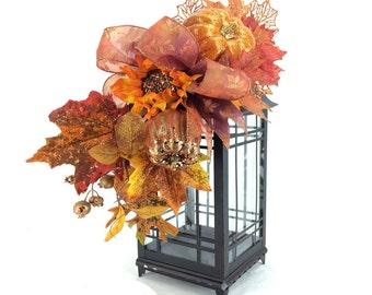 Glittered Fall Lantern Swag, Orange Fall Lantern Swag, Autumn Decor, Autumn Lantern Centerpiece, Fall Mantle Decor, Fall Table Centerpiece
