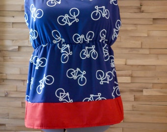 SALE Navy Bicycle Print Sleeveless ShirtShirt~ Empire Waist Shirt~Size Large Shirt~Plus Size Shirt~Maternity Shirt~Summer Shirt Women~Tunic
