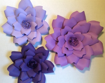 Three large 3D Paper Flowers Shades of Purple, Baby or Bridal Shower, Wedding, Party, Wall decor