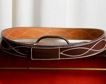 Brown Belt, Dress Belt Western Belt, Dress Belt, Leather Belt, Buckskin Stitching, 80s Belt, Casual Belt, 32 to 36 Waist, On Sale