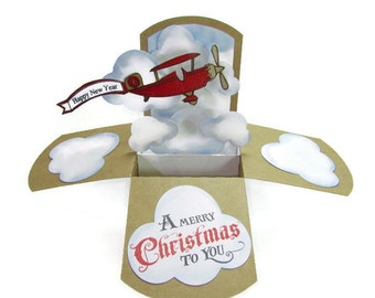 Christmas Pop Up Card - Vintage Airplane Banner Card - Customizable - Card For Pilots - Merry Christmas - Happy New Year Banner