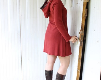 Hemp Fleece or French Terry Hooded Dress - Custom Made to Order - You Pick Color