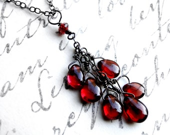 Garnet Necklace, Oxidized Sterling Silver Necklace - Pomegranate Heart by CircesHouse on Etsy
