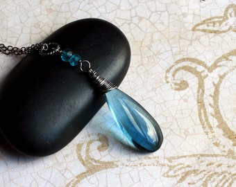 London Blue Quartz Necklace, Oxidized Sterling Silver - Atlantis by CircesHouse on Etsy