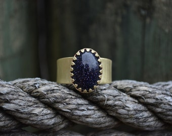 Blue Goldstone Ring, goldstone ring, goldstone, Brass gemstone ring