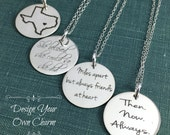 Personalized Jewelry, Engraved Charms, Personalized Charms, Sterling Silver Charms, Disc Necklace, Engraved Jewelry, Sterling Disc, 3/4 inch