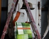 Repurposed Blanket Unisex Satchel in Ombré of Greens w Tan Kangaroo Leather features