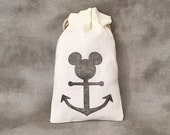 Mickey Mouse - Mickey Mouse Anchor - Disney - Disney Wedding -  Disney Cruise - Disney Fish Extenders - Cruise Gifts - Set of 10 Muslin Bags