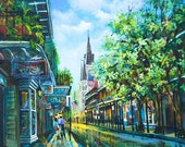St Louis Cathedral, French Quarter, New Orleans Art Giclee, New Orleans Street Painting, New Orleans Print, Chartres Street, French Quarter