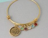 Charm Bangle - Mother - Personalized Bracelet - Grandmother - Adjustable - Birthstone - Grandma - Family Tree - Tree of Life - Gold