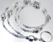 Lanyard - Silver Luster Glass Beaded ID Lanyard, Badge Holder, ID Badge Necklace
