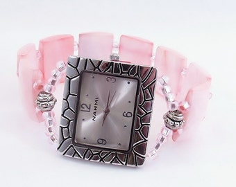 Beaded Bracelet Watch - Pink Faceted Shell Stretchy Watch