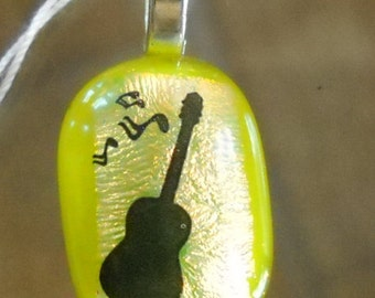 Guitar Fused Glass Pendant//Handmade in USA//Guitar//Preppy//Gift for Her//Band//Silver Plated Bail/Accessories//Music Notes/Green//Dichroic