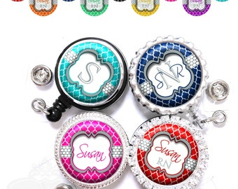 Retractable Badge Reel - Personalized Polka Dots and Quatrefoil Lanyard ID Holder in 9 Colors with Name, Monogram, Occupation Title (A028)