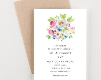 Soft Pastel Blossoms Botanical Save The Date, Wedding Announcement