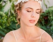 "Romantic modern ivory silk flower wedding halo headpiece ""Dakota"""