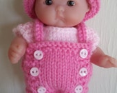 Berenguer Knitting Pattern 5 Inch Chubby Bib Front Romper Set baby doll clothes