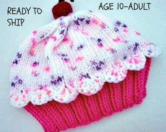 Cupcake Hat Raspberry Watermelon Cake with Cotton Candy Sprinkle Frosting Size age 10 - adult READY TO SHIP Handmade Hand Knit