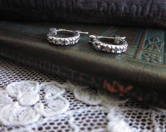 Sterling Silver and Cubic Zirconia huggie hoop latch earrings