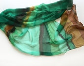 Hand painted silk chiffon scarf- Foam Morrow/ Emerald green scarf/ Lightweight scarf painted/ Stripes scarf/ Long fashion scarf gift for mom