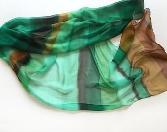 Hand painted silk chiffon scarf- Foam Morrow/ Emerald green scarf/ Lightweight scarf painted/ Stripes scarf/ Long fashion scarf gift for mom