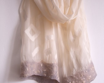 White felted silk chiffon scarf with light gray borders/ Wedding accessory/ Unique handmade gifts for women/ Luxury bridal shawl ooak