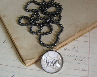 Inspire Word Pendant Long Necklace Soldered Jewelry