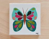 Original Paper Collage on Canvas - Emerald Green & Pink Butterfly - One of a Kind by Megan Jewel