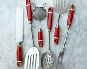 Vintage Kitchen Tool Collection / 6 Pieces / Wood Handles / Red and Ivory / Farmhouse Kitchen