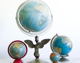 Vintage World Globe with Brass Eagle Base / 1970's Rand McNally World Portrait Globe