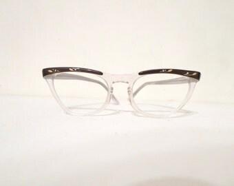Sale Rhinestone Cat Eye Glasses Clear & Black Brown Browline Embellished Frame Vintage 50s 60s Eyewear CatsEye EyeGlasses Sunglasses sale
