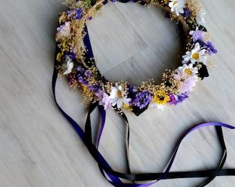 Dog Flower Collar Fall bridal crown Purple black yellow Dried Floral hair wreath Pet Best Friend sunflowers photo prop wedding accessories