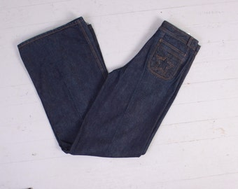 Vintage 70s BELL BOTTOMS / 1970s Unworn Dark Wash STAR Butt Denim Bells High Waist Jeans M - L