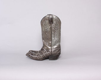 Vintage Cowboy BOOTS / 1980s Gray Leather Thunderbird Eagle Gator Embossed Boots 9 1/2