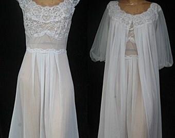 Vintage Vanity Fair 50s 60s White Bridal Wedding Peignoir Nightgown Robe Double Chiffon