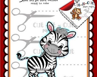 Zebra Digital Stamp, Zoo Animals, Cute Zebra Digi, Scrapbooking Printable, Coloring Pages, Line Art, Digi Stamps